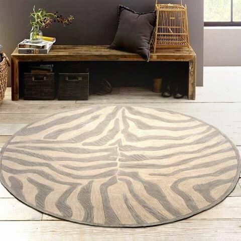LR Home Hand Tufted Fashion Modern Zebra Taupe/ Silver Wool Rug - 3' x 3'
