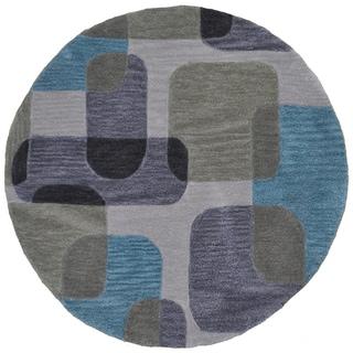 LNR Home Fashion Ivory Geometric Round Rug (5' x 5')