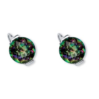 PalmBeach 6.60 TCW Round Fire Quartz Earrings in Platinum over .925 Sterling Silver
