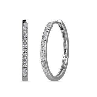 AALILLY 10k White Gold 1/10ct TDW Diamond Hoop Earrings