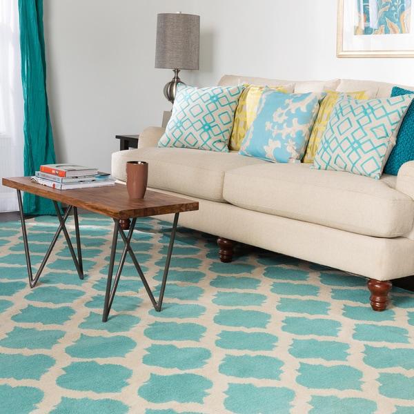 Hand-woven Dean Moroccan Trellis Geometric Flatweave Wool Area Rug