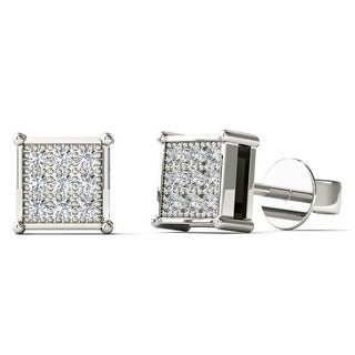 10k White Gold Children's Diamond Accent Square Stud Earrings (H-I, I2)