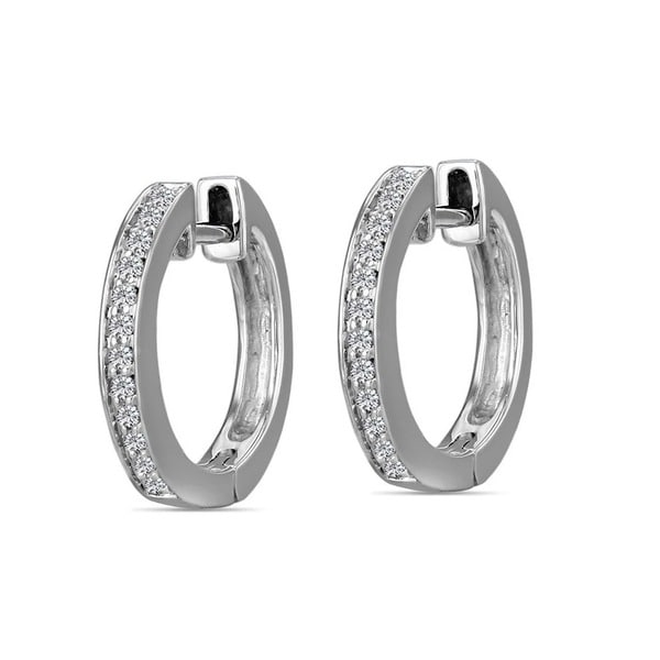 a08b8e3df3e Shop AALILLY 10k White Gold Children s Diamond Accent Hoop Earrings ...