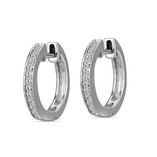 AALILLY 10k White Gold Children's Diamond Accent Hoop Earrings