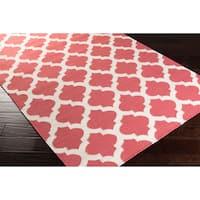 Hand Woven Taylor Moroccan Trellis Geometric Flatweave Wool Area Rug
