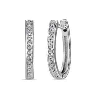 AALILLY 10k White Gold Children's Diamond Accent Elegant Hoop Earrings