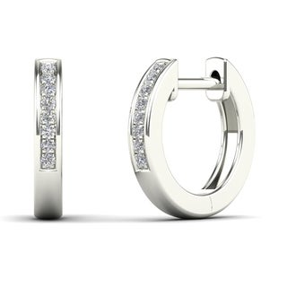AALILLY 10k White Gold Children's Diamond Accent Classic Hoop Earrings