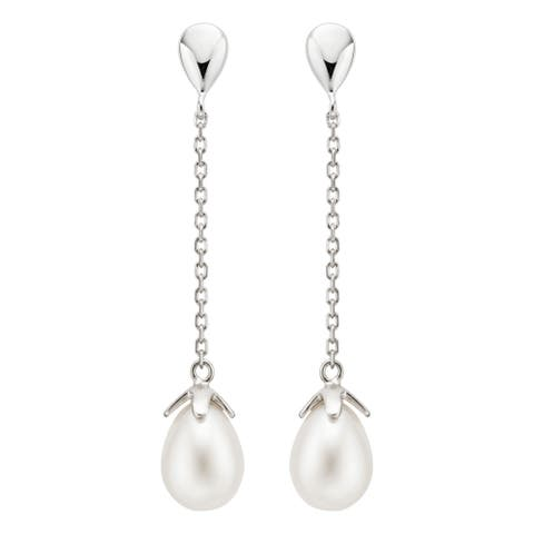 Pearlyta Sterling Silver Freshwater Drop Pearl Dangle Earrings (8-9mm) - White