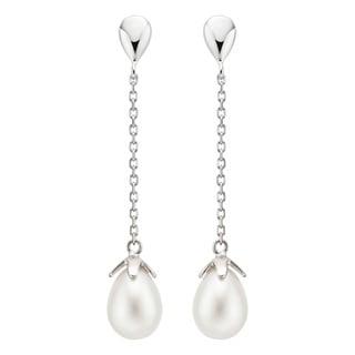Pearlyta Sterling Silver Freshwater Drop Pearl Dangle Earrings (8-9mm)