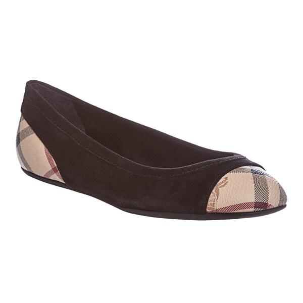 4cd63ea6293 Shop Burberry Women s Black Suede Haymarket Check Ballerina Flats ...