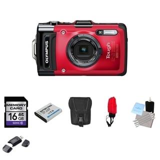 Olympus Tough TG-2 iHS Waterproof Red Digital Camera 16GB Bundle
