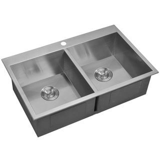 Water Creation 33-inch X 22-inch Zero Radius 50/50 Double Bowl Stainless Steel Hand Made Drop In Kitchen Sink