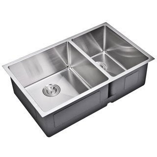 Water Creation 33-inch X 20-inch 15 mm Corner Radius 60/40 Double Bowl Stainless Steel Hand Made Undermount Kitchen Sink