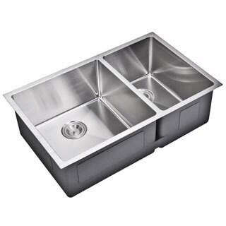 Water Creation 33-inch X 20-inch 15 mm Corner Radius 60/40 Double Bowl Stainless Steel Hand Made Undermount Kitchen Sink