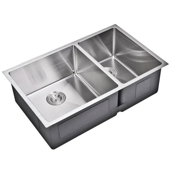 20 Inch Kitchen Sink : Water Creation 33-inch X 20-inch 15 mm Corner Radius 60/40 Double Bowl ...
