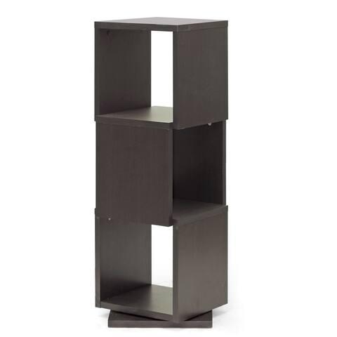 Baxton Studio Ogden Dark Brown/ Espresso 3-level Rotating Modern Bookshelf