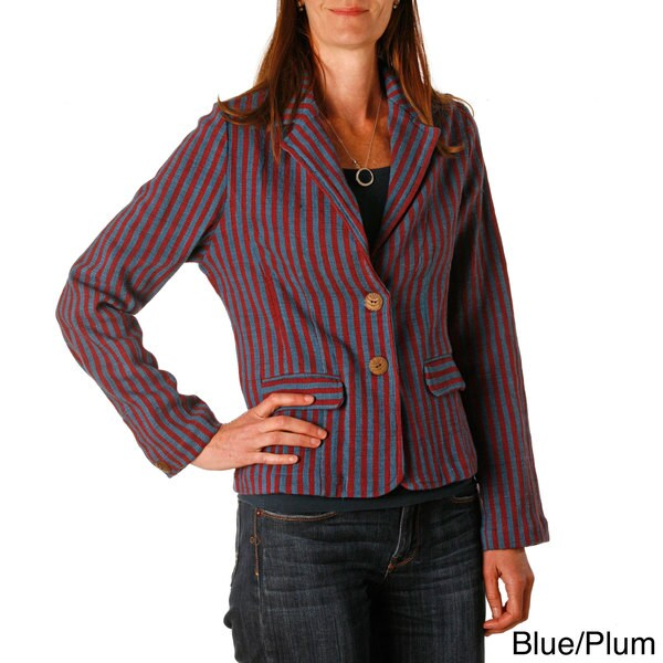 Shop Handmade Stripes Blazer Jacket Nepal Free Shipping Today