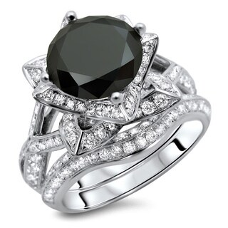 Noori 14k White Gold 3 1/2ct TDW Certified Black Round-cut Diamond Ring and Matching Band