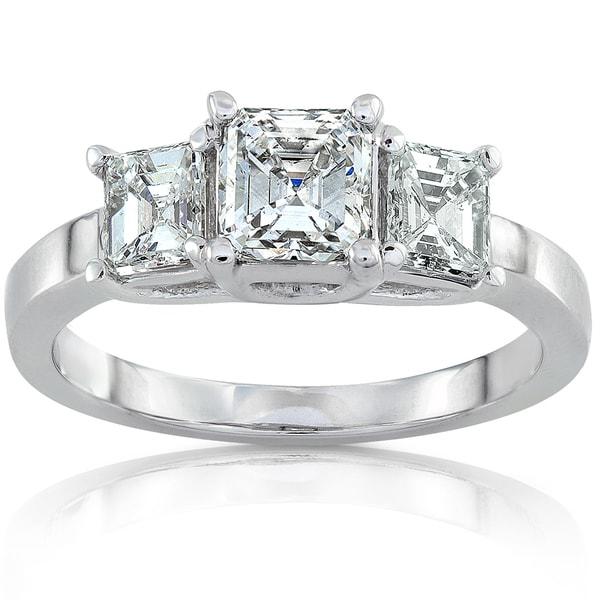 Annello by Kobelli 14k White Gold 1 3/4ct TDW Certified Asscher Diamond Three Stone Ring