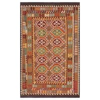 Herat Oriental Afghan Hand-woven Wool Kilim (6'3 x 9'11) - 6'3 x 9'11