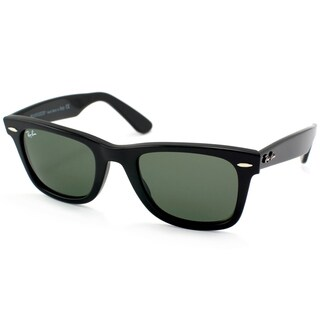Ray-Ban Wayfarer RB2140 Unisex Shiny Black Frame Green Lens Sunglasses