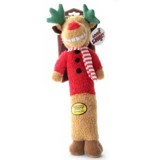 Multipet Holiday Reindeer Plush Squeaker Pet Dog Toy