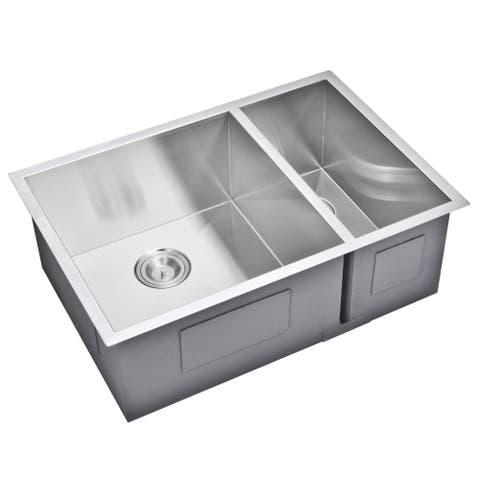 Water Creation 29-inch X 20-inch Zero Radius 70/30 Double Bowl Stainless Steel Hand Made Undermount Kitchen Sink