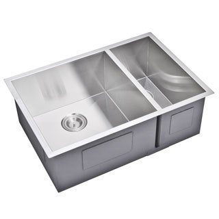 Water Creation 29-inch X 20-inch Zero Radius 70/30 Double Bowl Stainless Steel Hand Made Undermount Kitchen Sink