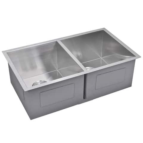Water Creation 31-inch X 18-inch Zero Radius 50/50 Double Bowl Stainless Steel Hand Made Undermount Kitchen Sink