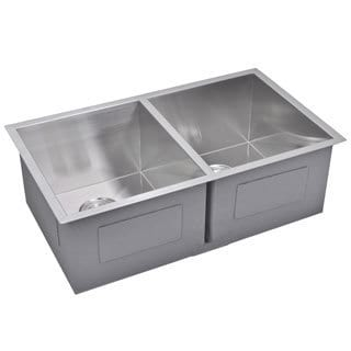 Water Creation  31-inch X 18-inch Zero Radius 50/50 Double Bowl Stainless Steel Hand Made Undermount Kitchen Sink