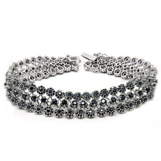 De Buman 14K White Gold Genuine Sapphire and 4ct TDW Black Diamond Bracelet