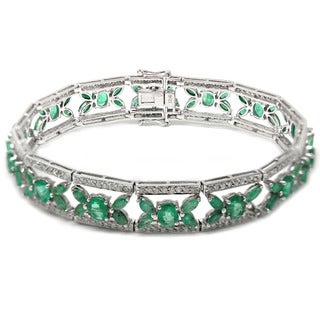 De Buman 14K White Gold Genuine Emerald and 1 5/8ct TDW Diamond Bracelet (H-I, I1-I2)
