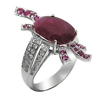 De Buman 14K White Gold Oval-cut Genuine Ruby and 1/2ct TDW Diamond Ring (H-I, I1-I2)