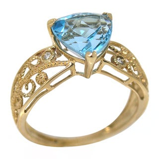 De Buman 14K Yellow Gold Genuine Blue Topaz and Diamond Accent Ring
