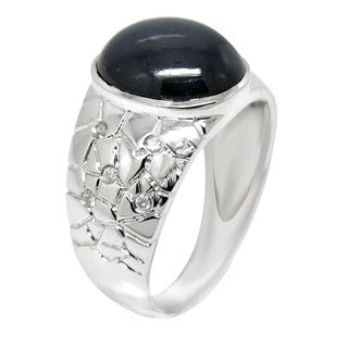 De Buman 10K White Gold Genuine Sapphire and Diamond Accent Ring