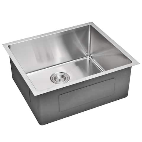 Water Creation 23-inch X 20-inch 15 mm Corner Radius Single Bowl Stainless Steel Hand Made Undermount Kitchen Sink
