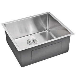 Water Creation  23-inch X 20-inch 15 mm Corner Radius Single Bowl Stainless Steel Hand Made Undermount Kitchen Sink