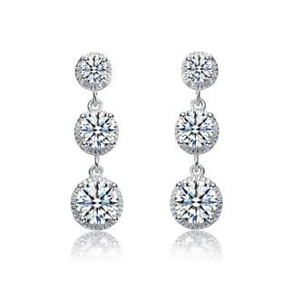 Collette Z Sterling Silver Cubic Zirconia Graduated Style Dangle Earrings