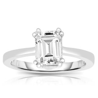 Collette Z Sterling Silver Emerald-cut Cubic Zirconia Ring