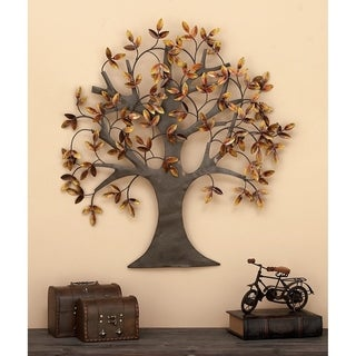 """31"""" x 32"""" Brown & Gold Autumn Leaves Traditional Metal Wall Art Tree by Studio 350"""