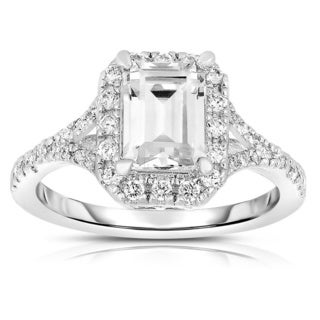 Collette Z Sterling Silver Square-cut Cubic Zirconia Engagement Ring