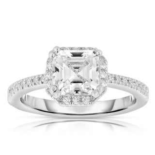Collette Z Sterling Silver Ascher-cut Cubic Zirconia Ring (2 options available)