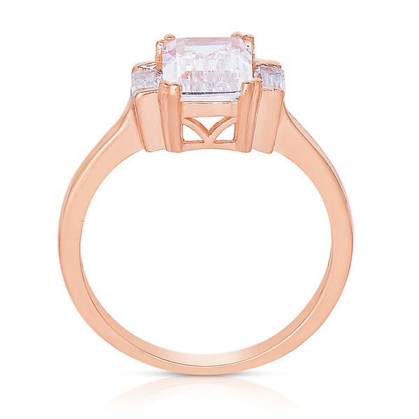 127480f820089 Shop Collette Z Rose Gold over Silver Asscher-cut Cubic Zirconia ...
