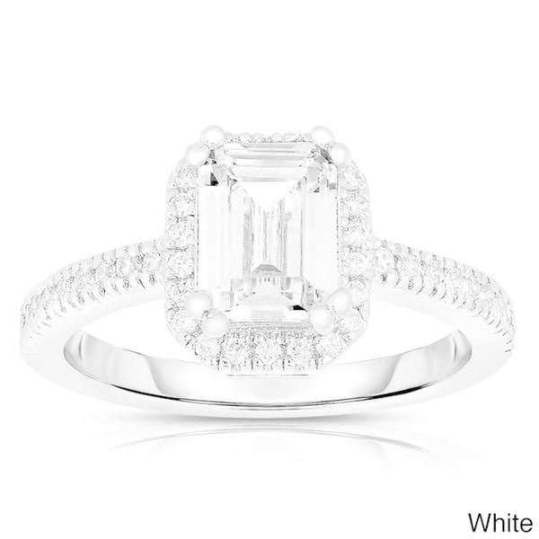 Emerald Zircon Gold Rhodium Plated Women Jewelry Gemstone Wedding Ring Size 6