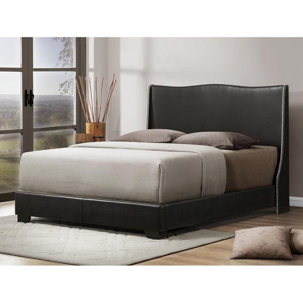 baxton studio duncombe black modern bed with upholstered headboard queen size