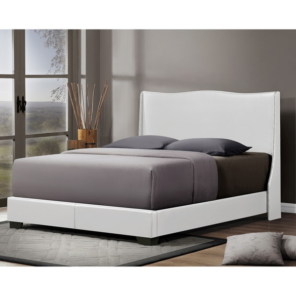 shop baxton studio duncombe white modern bed with upholstered headboard queen size free. Black Bedroom Furniture Sets. Home Design Ideas