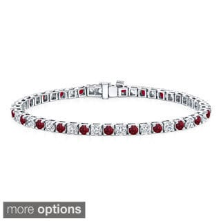 Auriya 14k Gold 1 1/2ct Ruby and 1 1/2ct TDW Diamond Tennis Bracelet (H-I, SI1-SI2)