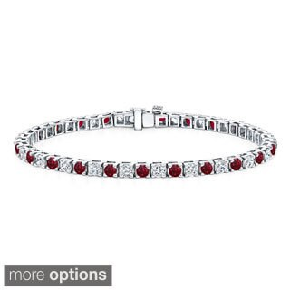 Auriya 14k Gold 1 1/2ct Red Ruby and 1 1/2ct TDW Diamond Tennis Bracelet