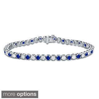 Auriya 14k Gold 1 1/2ct Blue Sapphire and 1 1/2ct TDW Diamond Tennis Bracelet (H-I, SI1-SI2)