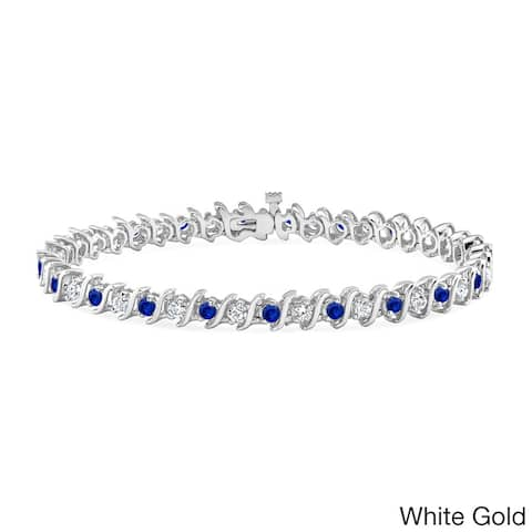 Auriya 1 1/2ct Blue Sapphire and 1 1/2ctw S-Link Diamond Tennis Bracelet 14k Gold
